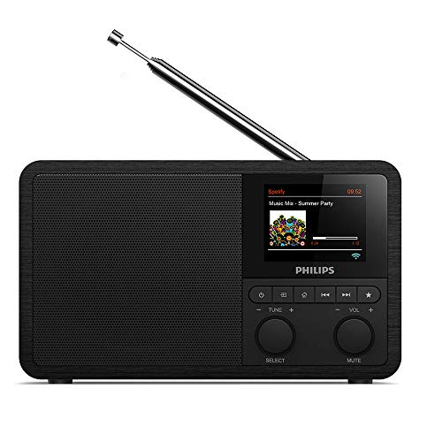 Philips Audio Internetradio DAB+ PR802/12 Radiowecker DAB+ (Bluetooth, DAB+, Sleep Timer, Dual Alarm, Spotify Connect) Schwarz von Philips Audio