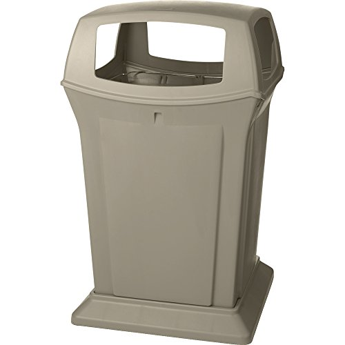 Rubbermaid Commercial Products Commercial 45gal Square Ranger Trash Can with 4 Openings - Beige von Rubbermaid Commercial Products