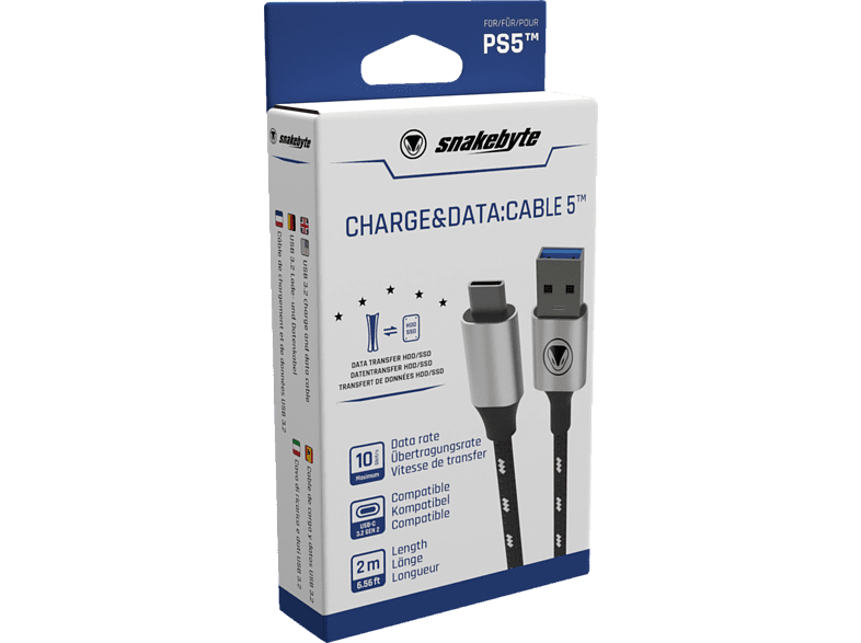 SNAKEBYTE PS5 USB Charge & Data: CABLE 5 (2m) Zubehör PS5 von SNAKEBYTE