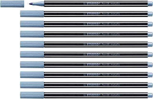 Premium Metallic-Filzstift - STABILO Pen 68 metallic - 10er Pack - metallic blau von STABILO