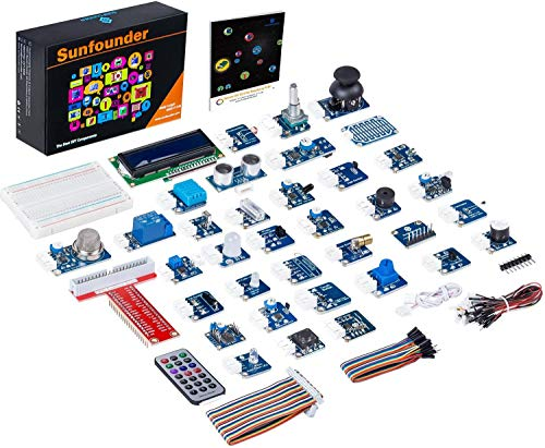 SunFounder 37 Modules Sensor Kit V2.0 for Raspberry Pi 4B, 3, 2 and RPi Model B+, 40-Pin GPIO Extension Board Jump wires with English Manual(MEHRWEG) von SUNFOUNDER