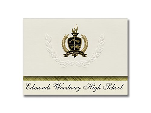 Signature Ankündigungen Edmonds WOODWAY High School (Edmonds, WA) Graduation Ankündigungen, Presidential Stil, Elite Paket 25 Stück mit Gold & Schwarz Metallic Folie Dichtung von Signature Announcements
