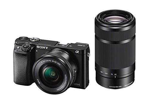 "Sony Alpha 6000 Systemkamera (24 Megapixel, 7,6 cm (3"") LCD-Display, Exmor APS-C Sensor, Full-HD, High Speed Hybrid AF) inkl. SEL-P 16-50 mm und SEL 55-210 mm Objektiv, 120 x 66,9 x 45,1 mm, schwarz von Sony"