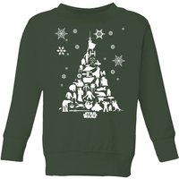 Star Wars Character Christmas Tree Kids' Christmas Sweatshirt - Forest Green - 11-12 Jahre - Forest Green von Star Wars