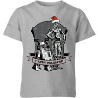 Star Wars Happy Holidays Droids Kids' Christmas T-Shirt - Grey - 5-6 Jahre - Grau von Star Wars