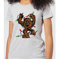Star Wars Tangled Fairy Lights Chewbacca Women's Christmas T-Shirt - Grey - 5XL - Grau von Star Wars