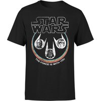 Star Wars The Force Is With You Retro Heads Herren T-Shirt - Schwarz - L - Schwarz von Star Wars