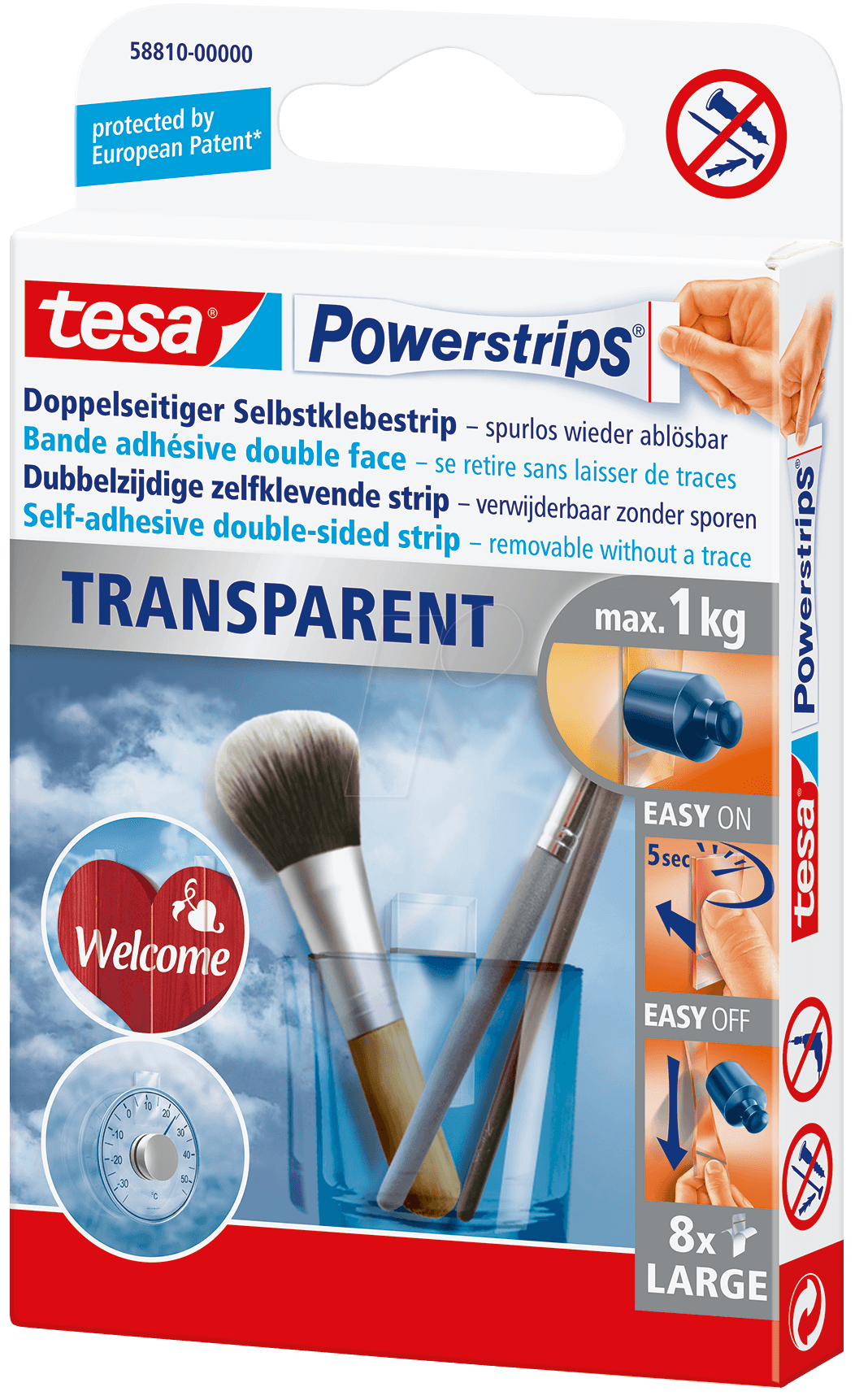 TESA 58810 - tesa Powerstrips® transparent Strips Large von Tesa