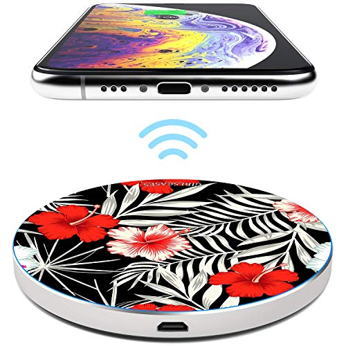 TheSmartGuard 10W Wireless Charger Qi Ladegerät Induktive Ladestation kompatibel für iPhone XS/XR/X/8 Samsung S10/S9/S8/S7 Note 9/8 Huawei P30 Pro usw | Blumen Flowers Schwarz Weiß Rot von TheSmartGuard