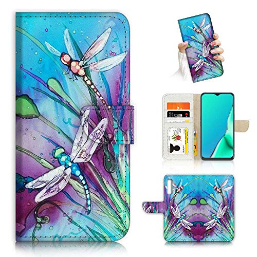 Für Samsung A50, Galaxy A50, Fancy Art Wallet Flip Case Cover A23002 Blau Libelle 23002 von True Love Jewellery Pty Ltd