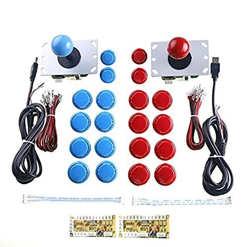 WINIT 2 Player Arcade Game DIY Parts USB PC Joystick for Mame Game DIY (2pcs Zero Delay USB Encoder/2pcs 5pin 8 Way Joystick /20pcs Push Button) Color Red + Blue Kits Support All Windows System von WINIT