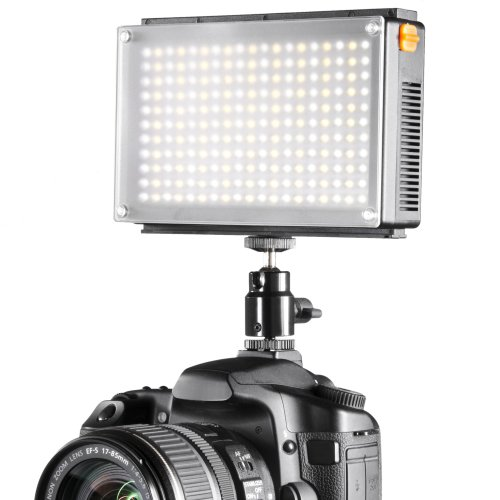 Walimex Pro LED Foto Video 209 Bi-Color, LED Leuchte, On Camera, Kopflicht, Foto Video Leuchte, Tageslicht, Bi Color, 1x NP-F 550 Akku von Walimex pro