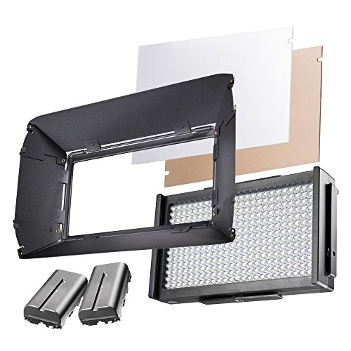 Walimex Pro LED Foto Video Square 312 Bi Color Akku Set, LED Leuchte, On Camera, Kopflicht, Foto Video Leuchte, Tageslicht, Bi Color, 2 x NP-F 550 Akku von Walimex pro