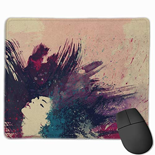 Gaming Mauspad Drawing Paint Hair Dark Rubber Mousepad (30 x 25 cm) | Fransenfreie Ränder | Rutschfest von Yesliy