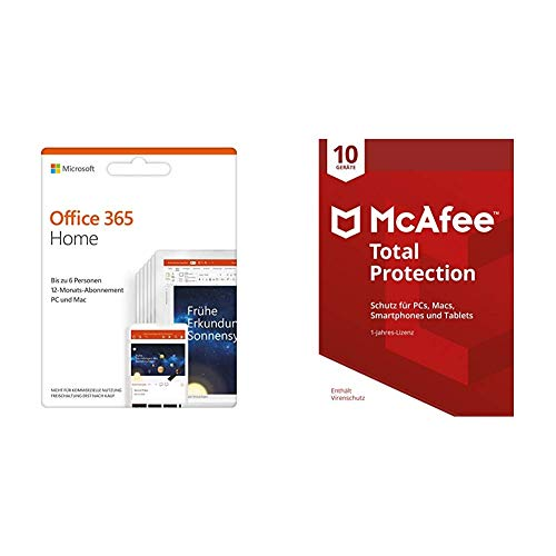 Microsoft Office 365 Home multilingual + McAfee Total Protection 2019 10 Geräte von Microsoft