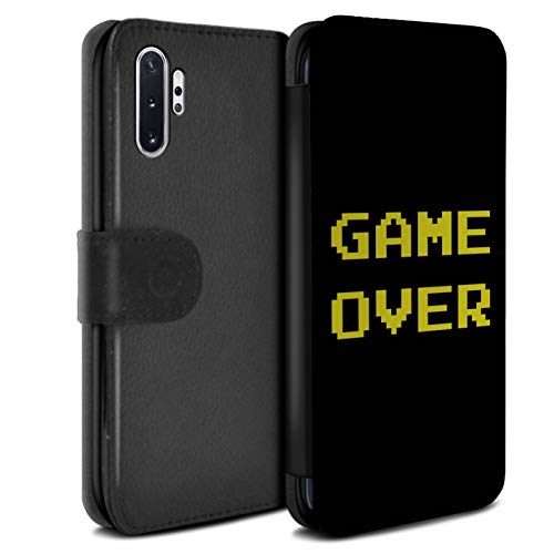 eSwish PU-Leder Hülle/Case/Tasche/Cover für Samsung Galaxy Note 10+/Plus/5G / Game Over Muster/Retro Arkade Spiele Kollektion von eSwish