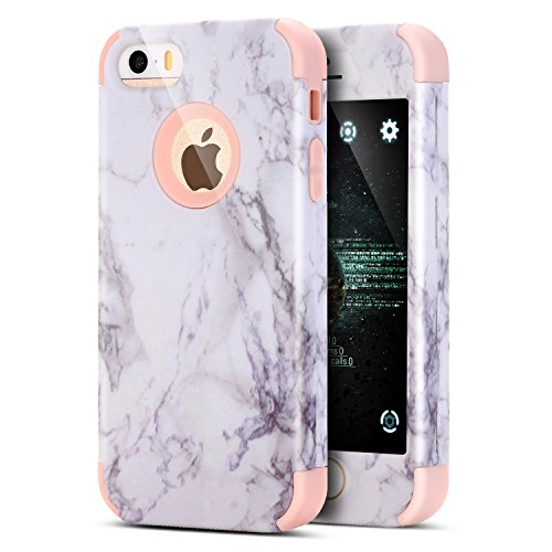 iPhone 6S Plus Hülle,iPhone 6 Plus Hülle,iPhone 6 Plus / 6S Plus TPU Silikon Hülle,ikasus® [Heavy Duty Full-body] Marble Marmor Muster Hybrid Outdoor Dual Layer Armor Hülle Case Handy Schutzhülle für Apple iPhone 6 Plus / 6S Plus (5,5 Zoll) Silikon Hülle Dual Layer TPU Silikon Hard Case Handy Hard Cover Hybrid Stoßdämpfend TPU Silikon Schutz Crystal Schutzhülle Handyhülle Schale Etui Protective Case Cover - Rosa von ikasus