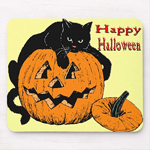 Black Cat Pumpkin Mouse Pad von ziHeadwear