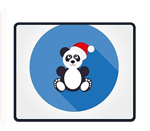 Panda in Santa Hat 8.66 X 7.09 Inch Computer Mouse Pad with Neoprene Backing and Jersey Surface von ziHeadwear