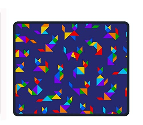 Tangram Cats 8.66 X 7.09 Inch Computer Mouse Pad with Neoprene Backing and Jersey Surface von ziHeadwear